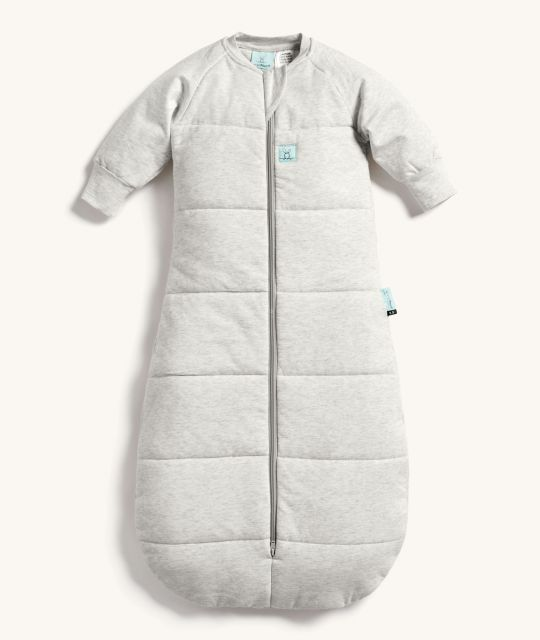 ergoPouch Jersey Sleeping Bag 3.5 TOG Grey Marle with warm sleeves