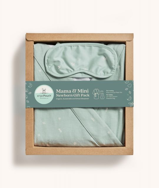 ergoPouch Mama & Mini Newborn Gift Pack Sage Matchy Matchy Robe & Cocoon Swaddle Bag